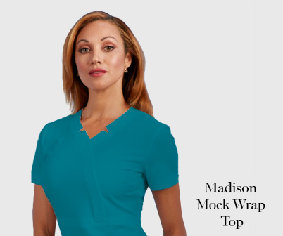 Madison mock wrap top sapphire scrub uniforms nurewear anitmicrobial